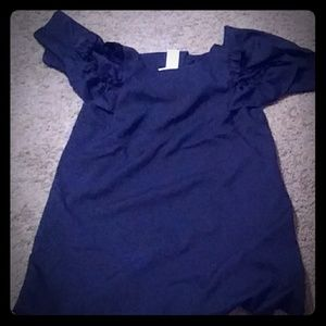 Gorgeous navy dress with open and fluffy shoulders